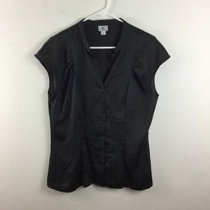 WORTHINGTON CHARCOAL SATIN BUTTON FRONT TOP